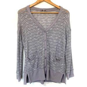 Splendid silver grey knit button front cardigan